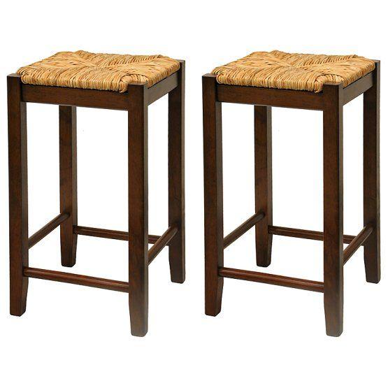 Narrow Bar Stools Winsome 24 Inch Rush Seat Counter Stool Walnut Set Of 2 Wood Bar Stools Home Bar Furniture Wooden Bar Stools