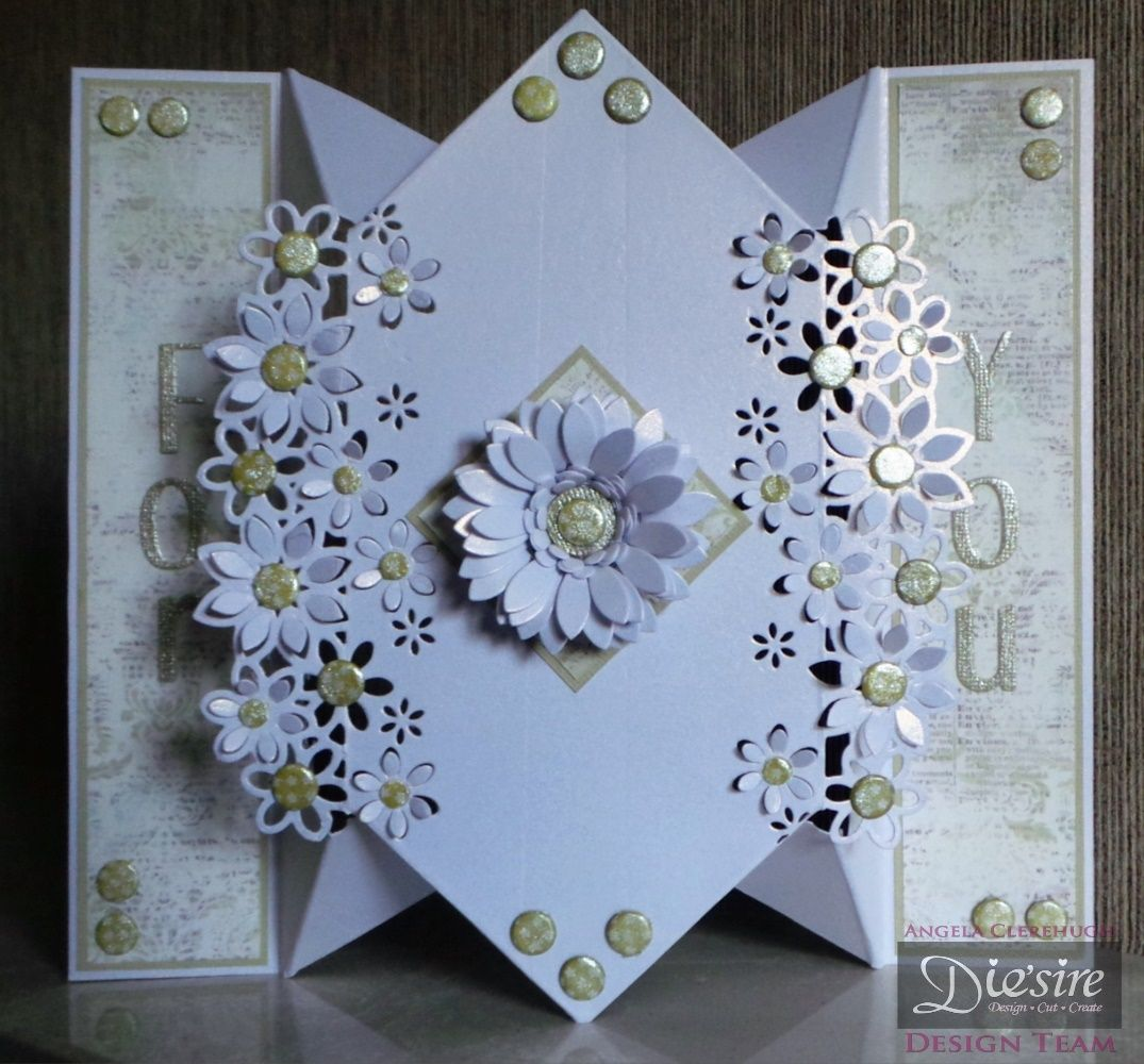 """Die'sire Fancy Edge'ables: Floral Dance. Diamond Fold Card. Centura Pearl Card. Classique Contemporary 1"""" upper & lower case alphabet. Itsy Bitsy Bloom Quilling Die. Sunflower small Quilling Die. Stamen Quilling Die. Spray & Sparkle (Pearl Diamond). #crafterscompanion"""