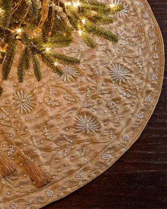 Gold With Pearls Tree Skirt Holidays Christmas Tree Skirts