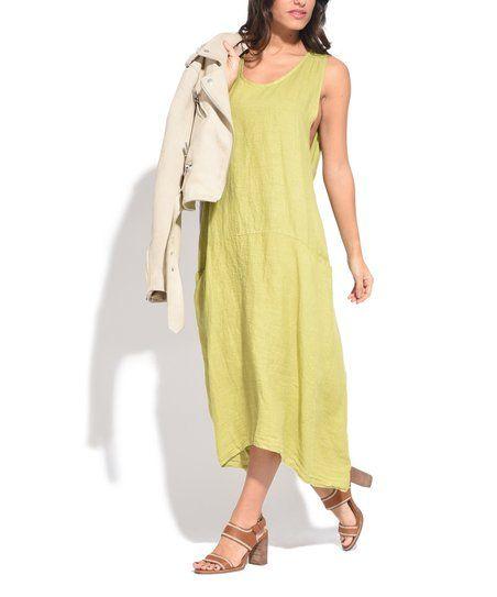 Couleur Lin Green Tie-Back Linen Strapless Dress | zulily ...