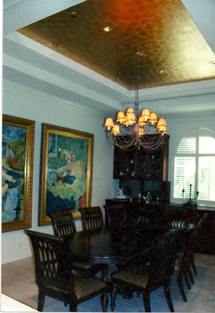 Gold leafed tray ceiling Mural Idea in San Antonio TX