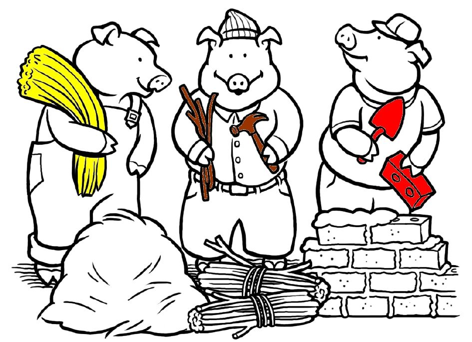 3 petits cochons compr hension de l 39 histoire conte - Coloriage les trois petit cochons ...