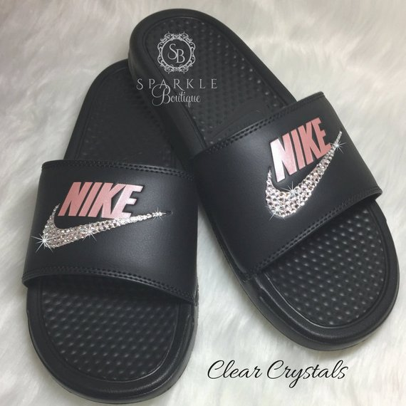 6858de102f7 Custom Nike Sandal - Mother s Day Gift - ROSE Color - Bedazzled Nike JDI  Slides - Black and Pink -