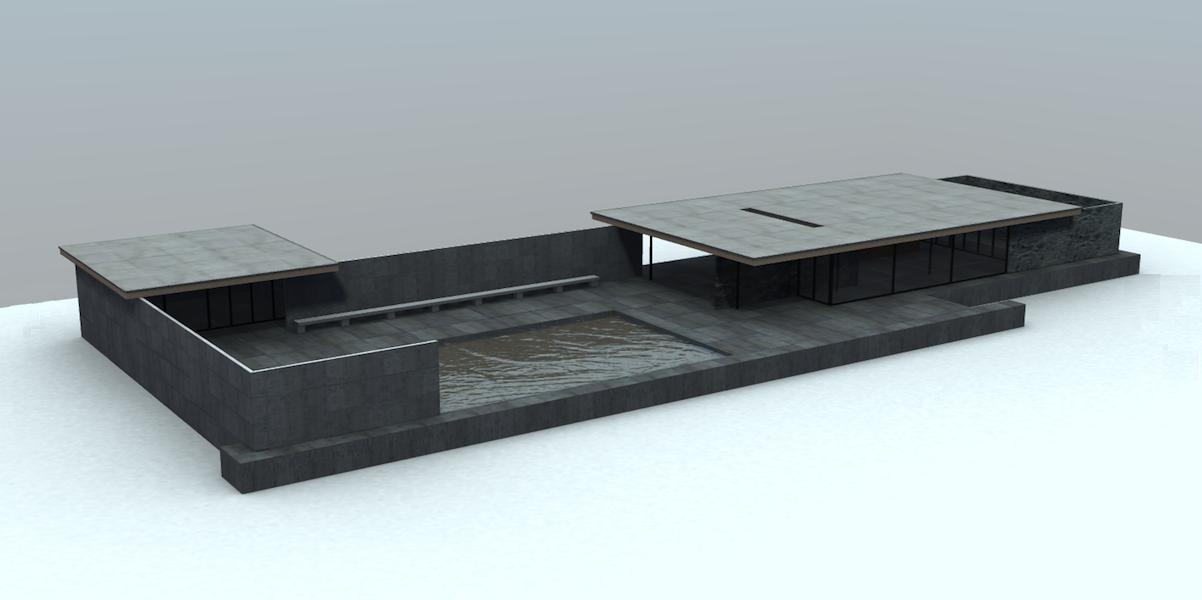 Cl3ver 3d Virtual Tour Mies Pavilion Arch Model Sculpture Installation Mies Van Der Rohe