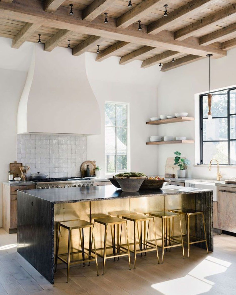 Oh Hi Brass And Reclaimed Wood Ceiling I See You Design By Bynumhomes Aliharper In 2020 Kitchen Design Reclaimed Wood Ceiling Brass Kitchen Island