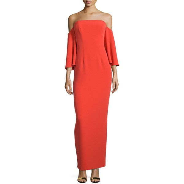 Milly Off-Shoulder Flutter-Sleeve Column Gown ($250) ❤ liked on ...