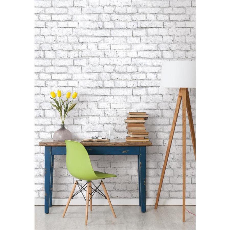 White Brick Peel And Stick Wallpaper Walmart Com In 2021 Faux Brick Wallpaper Faux Walls White Brick
