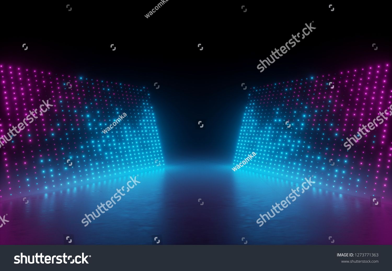 3d Render Abstract Background Screen Pixels Glowing Dots
