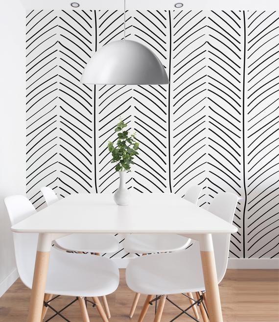 Black And White Geometric Wallpaper Self Adhesive Wallpaper Etsy White Home Decor Geometric Wallpaper Interior