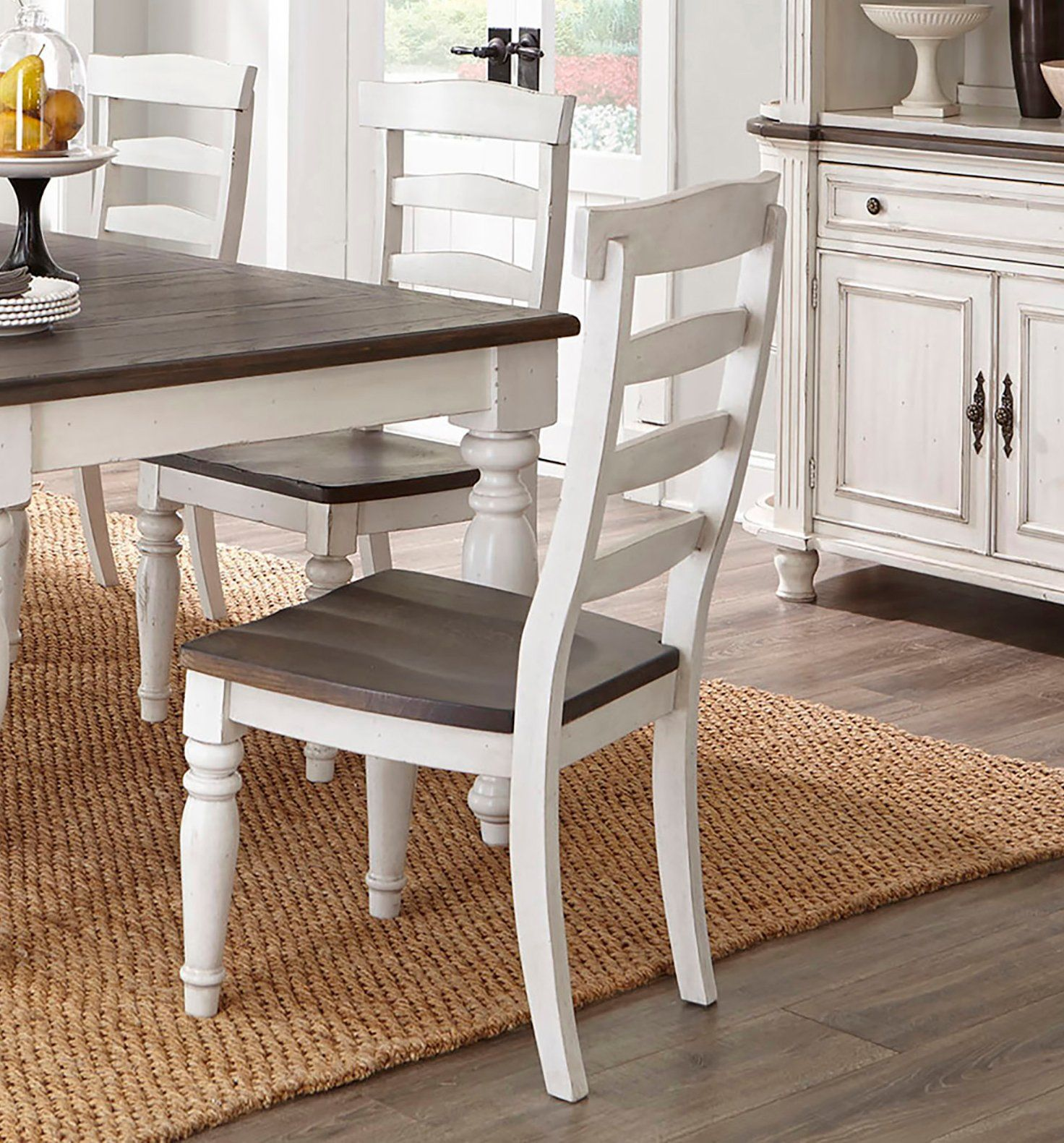 White Two Tone Dining Room Chair