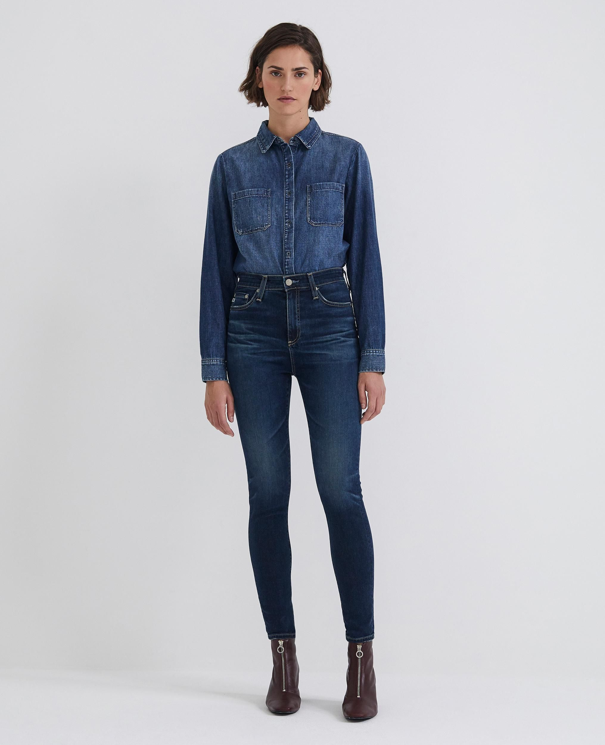 d3ff2d1a08e The Mila Ankle. Super high rise skinny jeans by AG. If you are going to  wear a skinny jean and you want to minimize your stomach. This is it.    Poplin Style