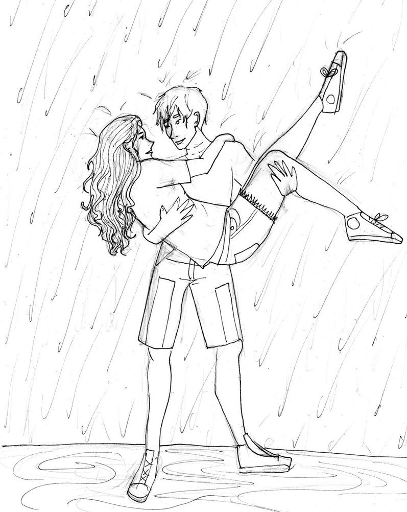 Dancing couple rain drawing