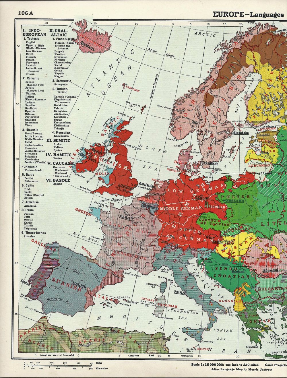 vintage map of European languages circa 1939 - 3.50 | Europe ...