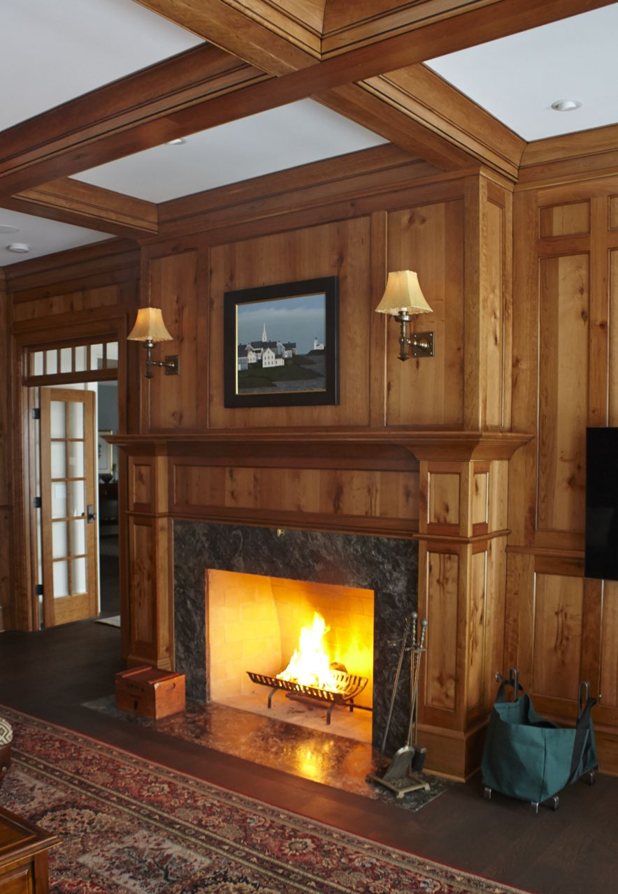 The Library Of A Shingle Style Cape Cod Home Features A Wood Burning Fireplace With A M Brass Fireplace Makeover Craftsman Fireplace Living Room With Fireplace
