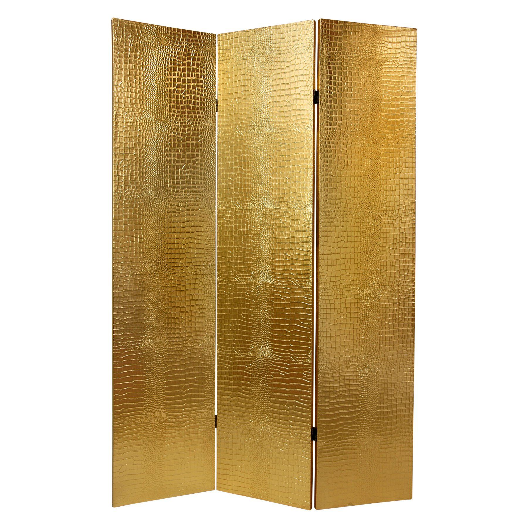 Oriental Furniture 6 ft. Gold Faux Crocodile Skin Room Divider - L ...