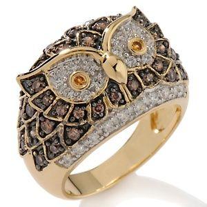 Gold owl ring