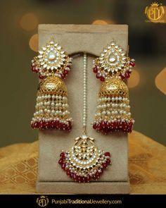 Gold Finished Rubby Jhumki Pearl Kundan Earrings &