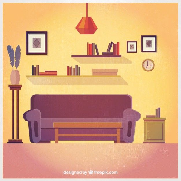 Lovely Living Room Interior Free Vector