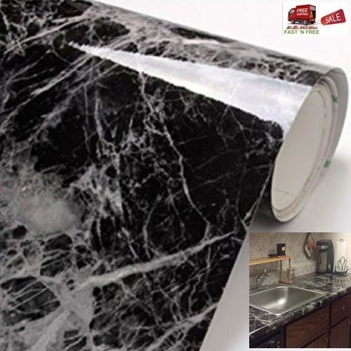Marble Vinyl Film Black Grey Wallpaper Adhesive Roll Decor Wrap
