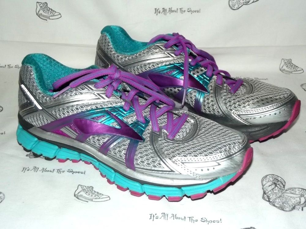 Brooks Adrenaline Gts 17 Gray Purple Blue Running Sneakers Womens Size 9 B Fashion Clothing Shoes Accessories Wome Running Shoes Grey Shoes Athletic Shoes