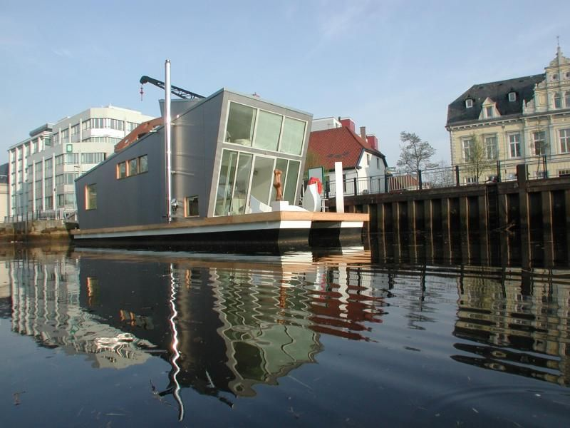 The Silberfisch (silver fish), a modern floating home by design firm Confused-