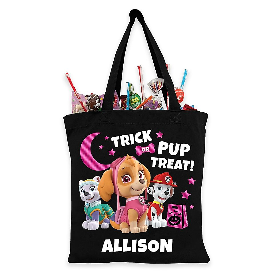 Personalized Paw Patrol Skye And Pups TrickOrTreat Bag In Black - Halloween treat bags, Trick or treat bags, Skye paw patrol, Treat bags, Paw patrol, Trick or treat - Personalized Paw Patrol Skye And Pups TrickOrTreat Bag In Black  Featuring Everest, Skye, and Marshall, the Personalized Paw Patrol TrickOrTreat Bag is the best way to tote Halloween treats this year  The phrase  Trick or pup treat!  is printed at the top with space to add a name for a personalized touch