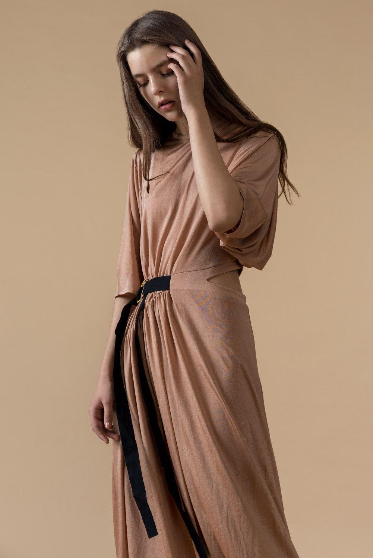 Short-Sleeved Belted Midi Dress