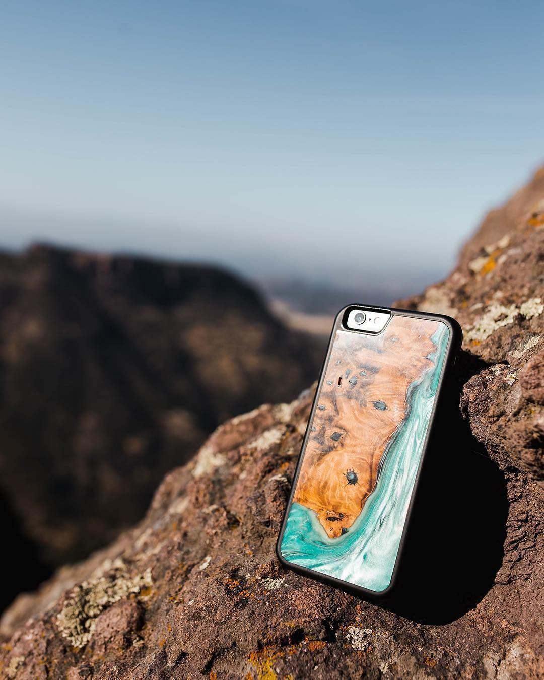 iPhone 11 Pro Max Wood+Resin Case Dyane (Teal & Gold