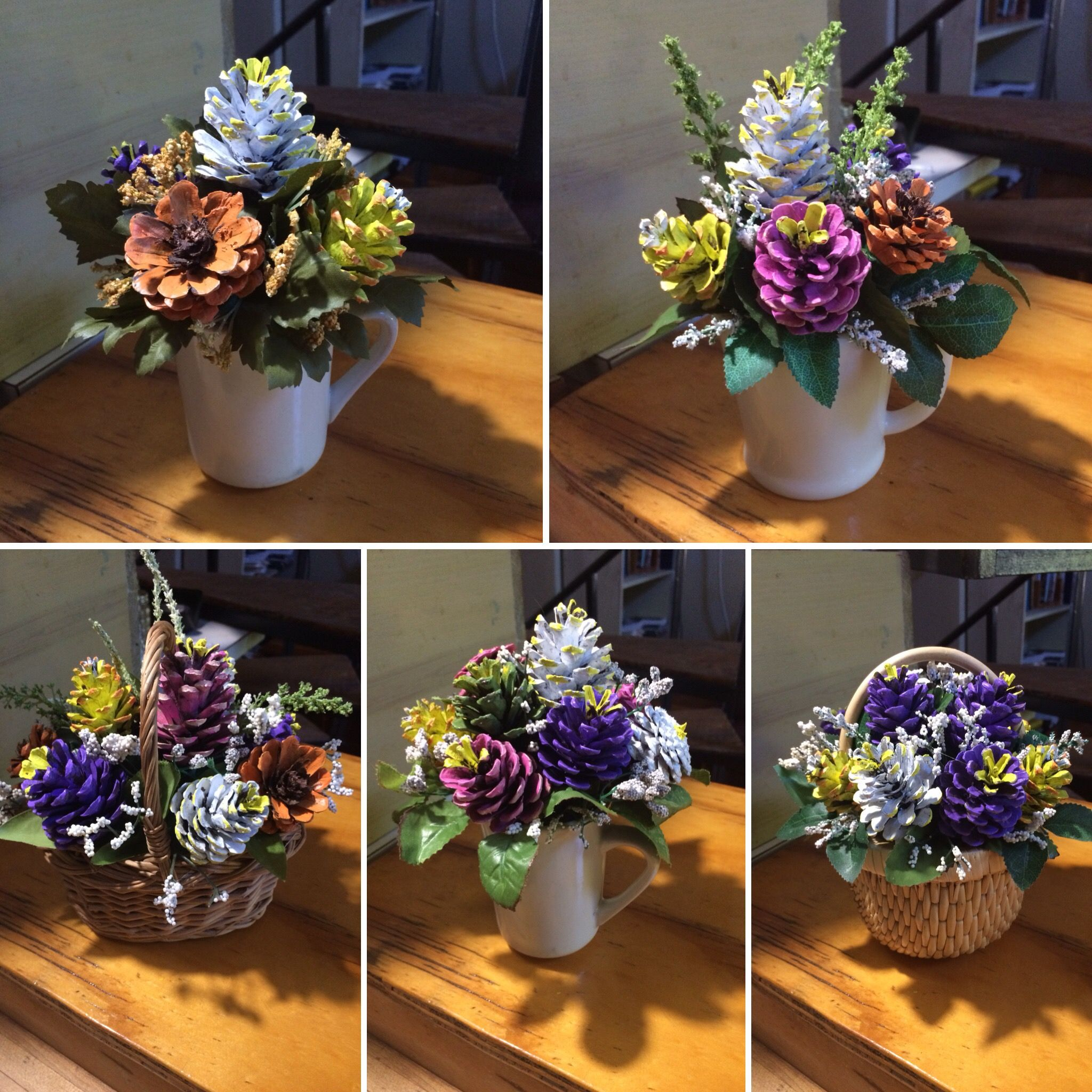 Pinecone Flower Arrangements By Cat Basteln