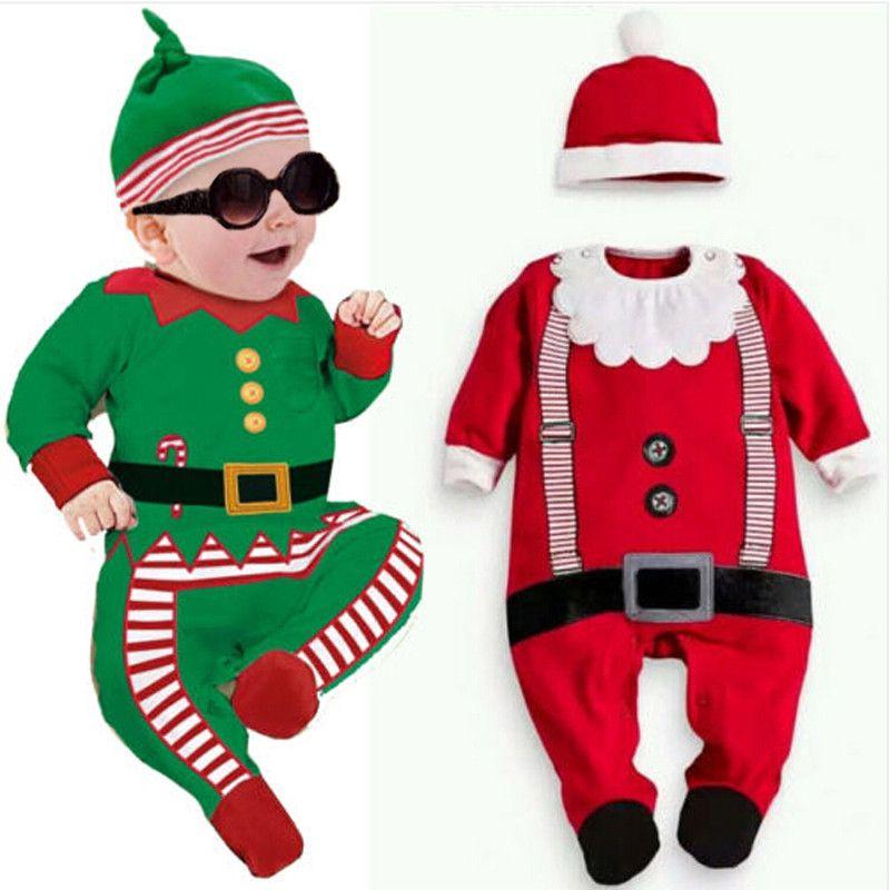 2Pcs Toddler Baby Boy Girl Kids Christmas Outfits Romper Hat Santa