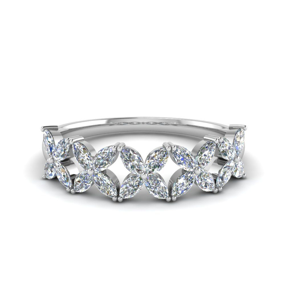 1 ct marquise diamond daisy wedding band in 14k white