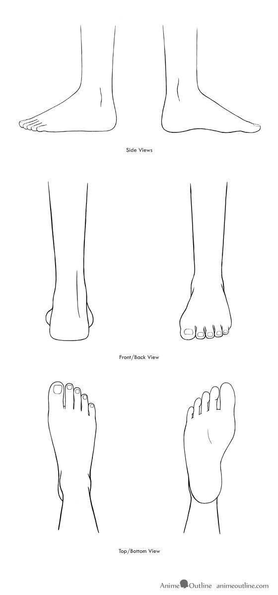 Anime feet drawings in different views | how to draw anime ...