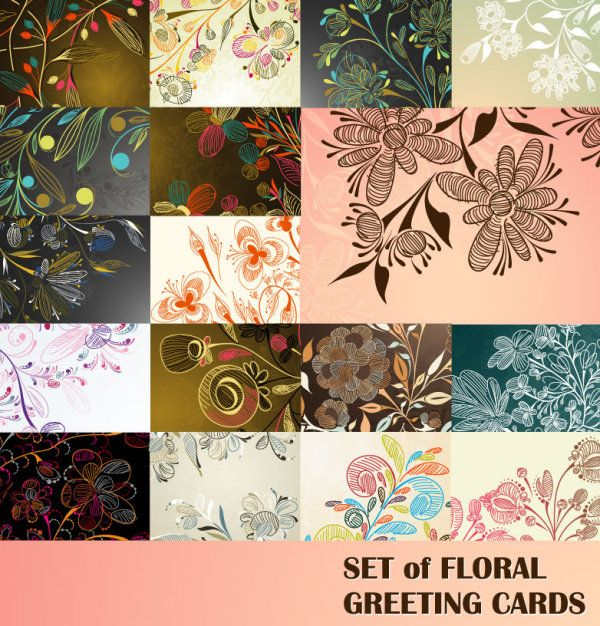 Elements of floral greeting cards vector