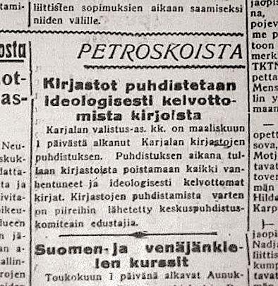 Uutinen Petroskoista 30-luvulta.