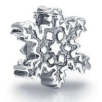 Sterling Silver Snow Bead Charm Fit Pandora