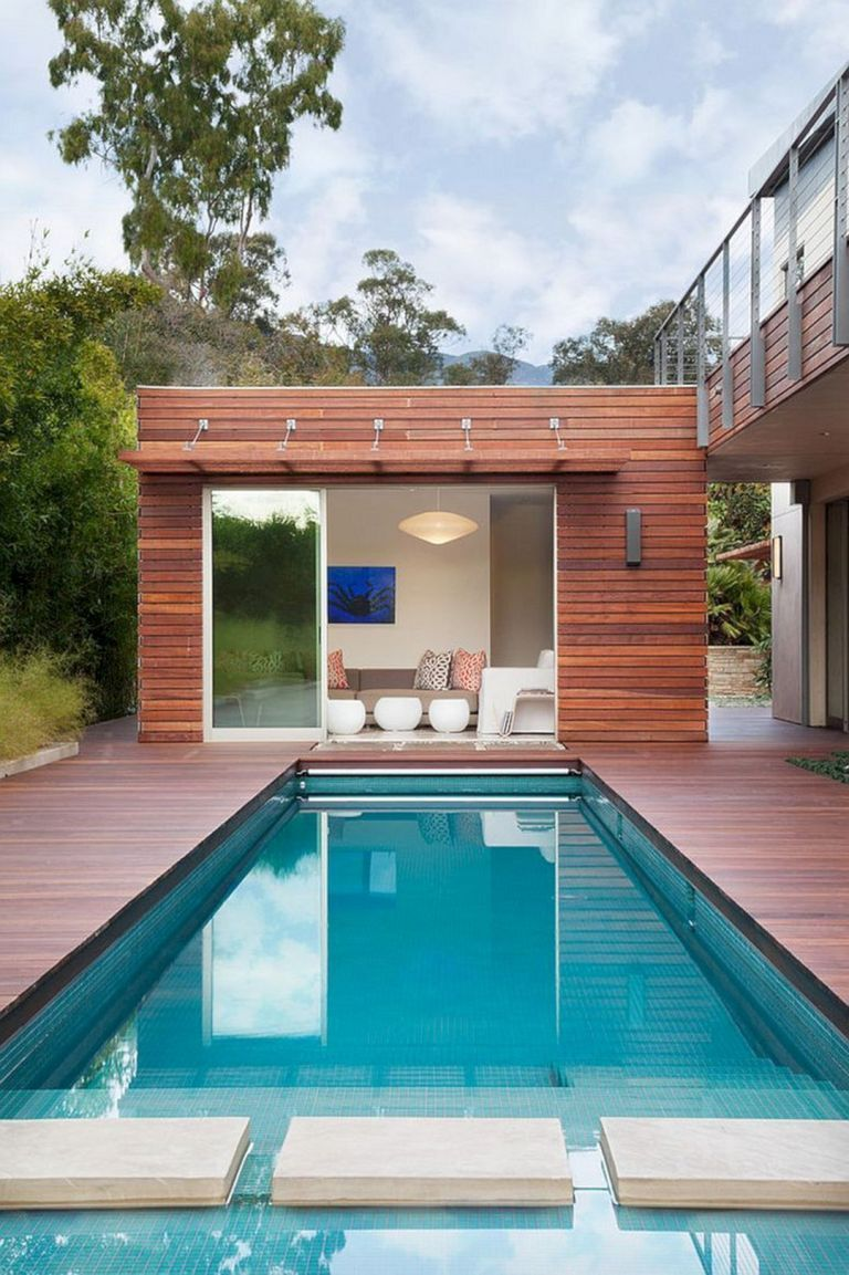 15 Best Creative Small Swimming Pool Design For Backyard Inspiration Decor It S Modern Pool House Pool House Designs Pool Houses