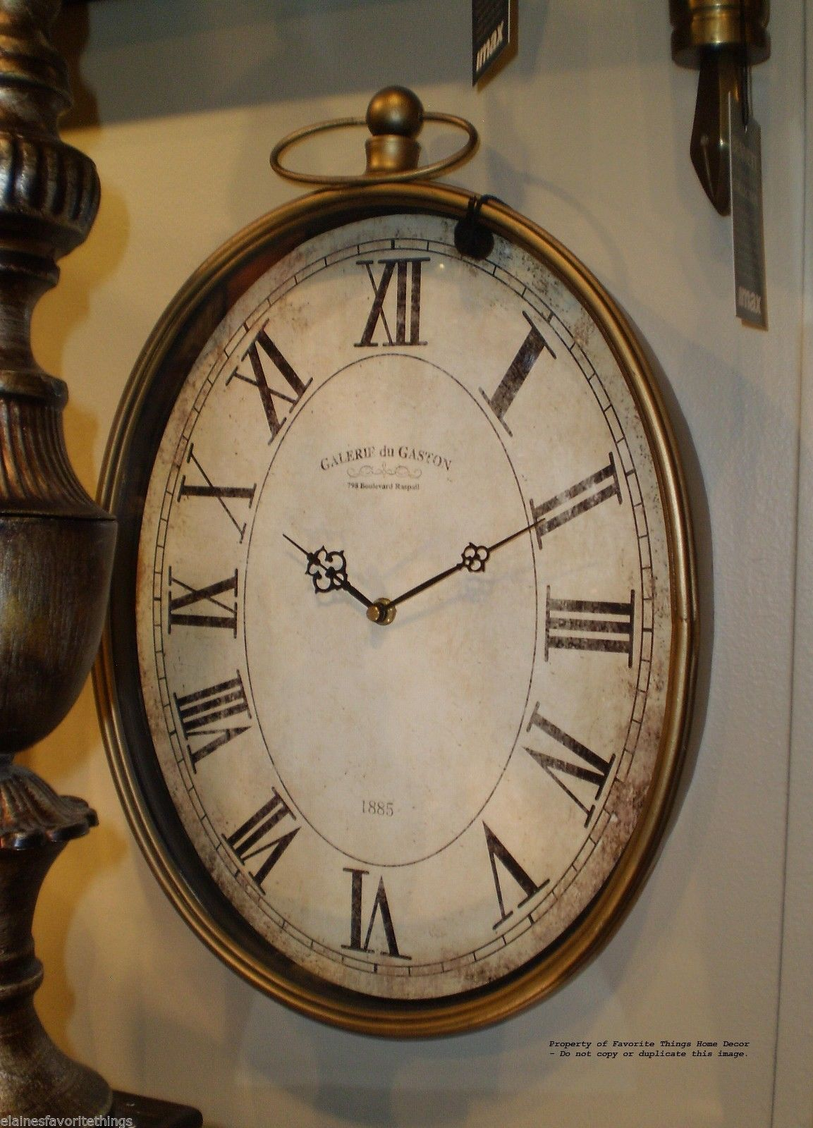Oval Pocket Watch Vintage Style Wall Clock 20 High eBay