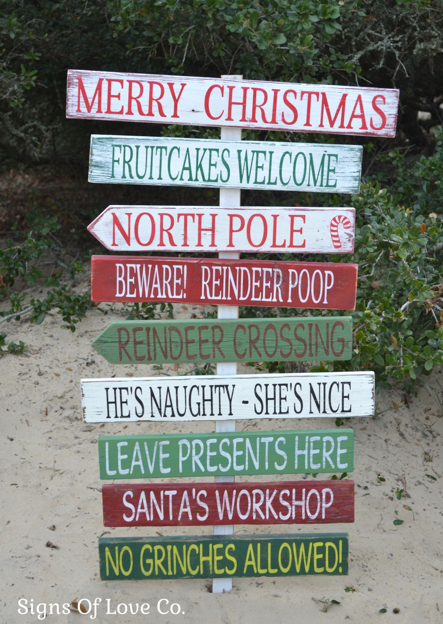Christmas Decorations Holiday Wood Signs Outdoor Indoor Outside ...