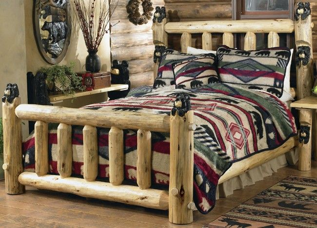 Log Furniture Carved Black Bear Log Bed King
