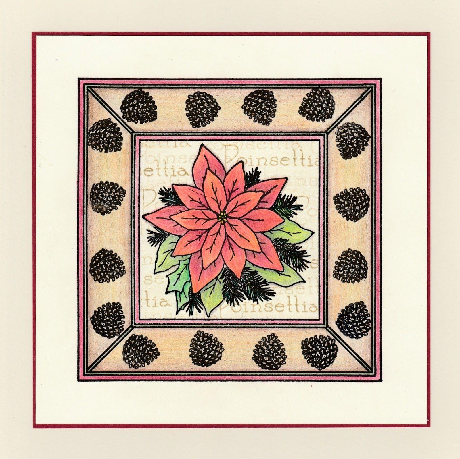 Poinsettia Frame Poinsettia, Clarity card, Christmas cards