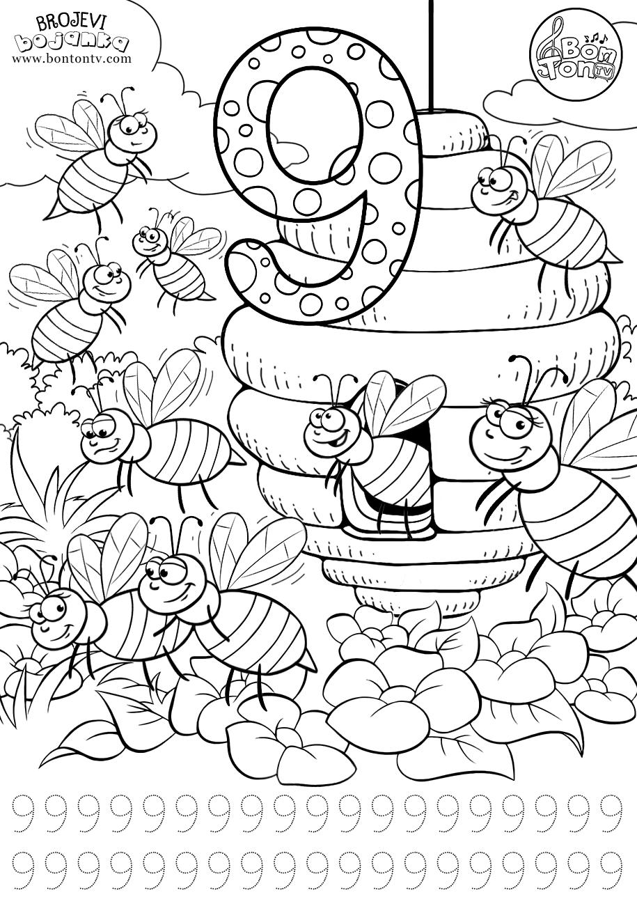 Number 9 preschool printables worksheets coloring pages for kids learning numbers counting 1 10 broj 9 bojanke za djecu brojevi radni listovi