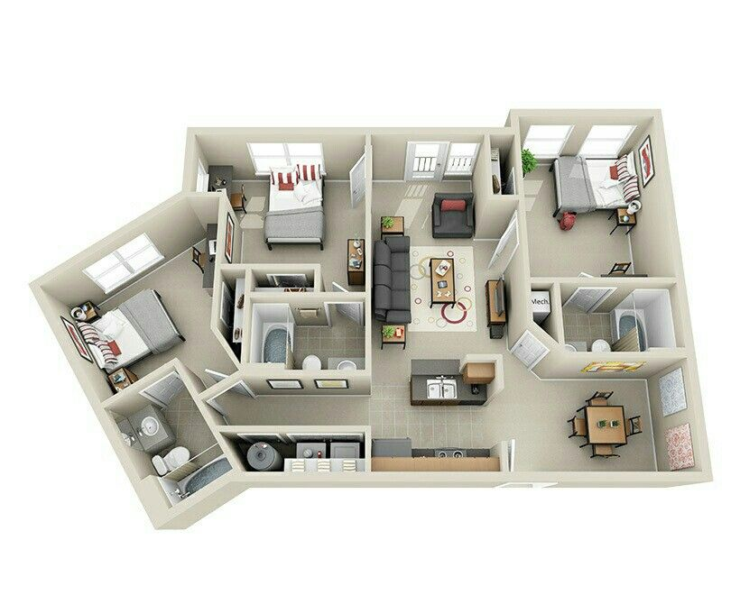 Pin By Djoa Dowski On Top View Inside House House Plans Sims House Design Apartment Floor Plans