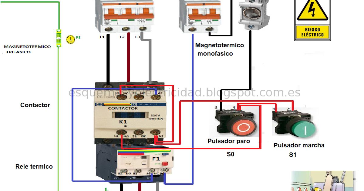 Conexión Contactor Rele Termico Trifasico Mas Pulsadores Nc No Pulsador Instalación Electrica Motor Trifasico