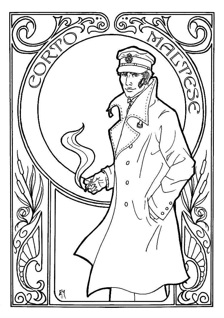 Free coloring page coloring-adult-corto-maltese-art-nouveau. Cort ...