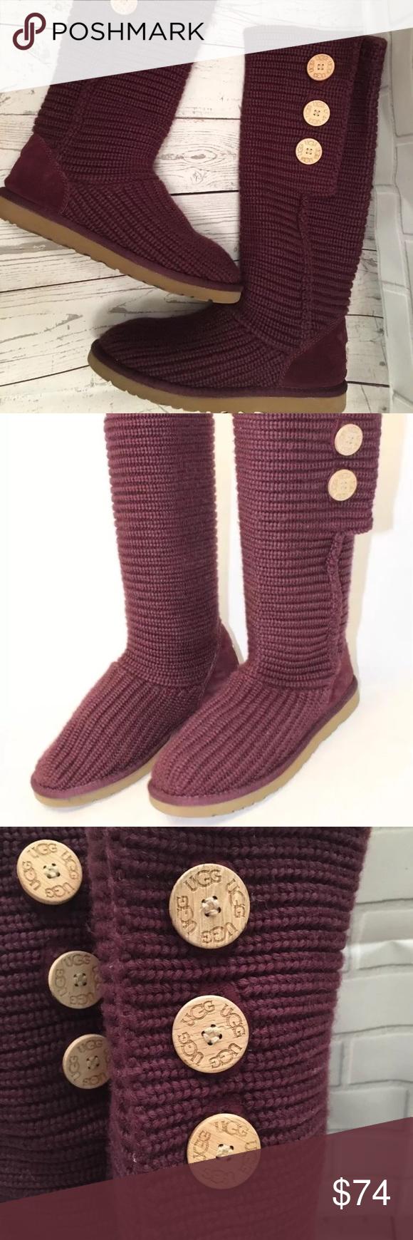 Ugg Australia Classic Cardy Knit Purple size 9 ~Authenticity Guaranteed~ Fabric Knit UGG Australia