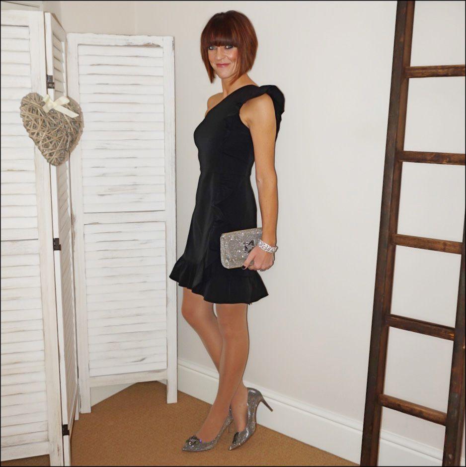 black dress sparkly shoes