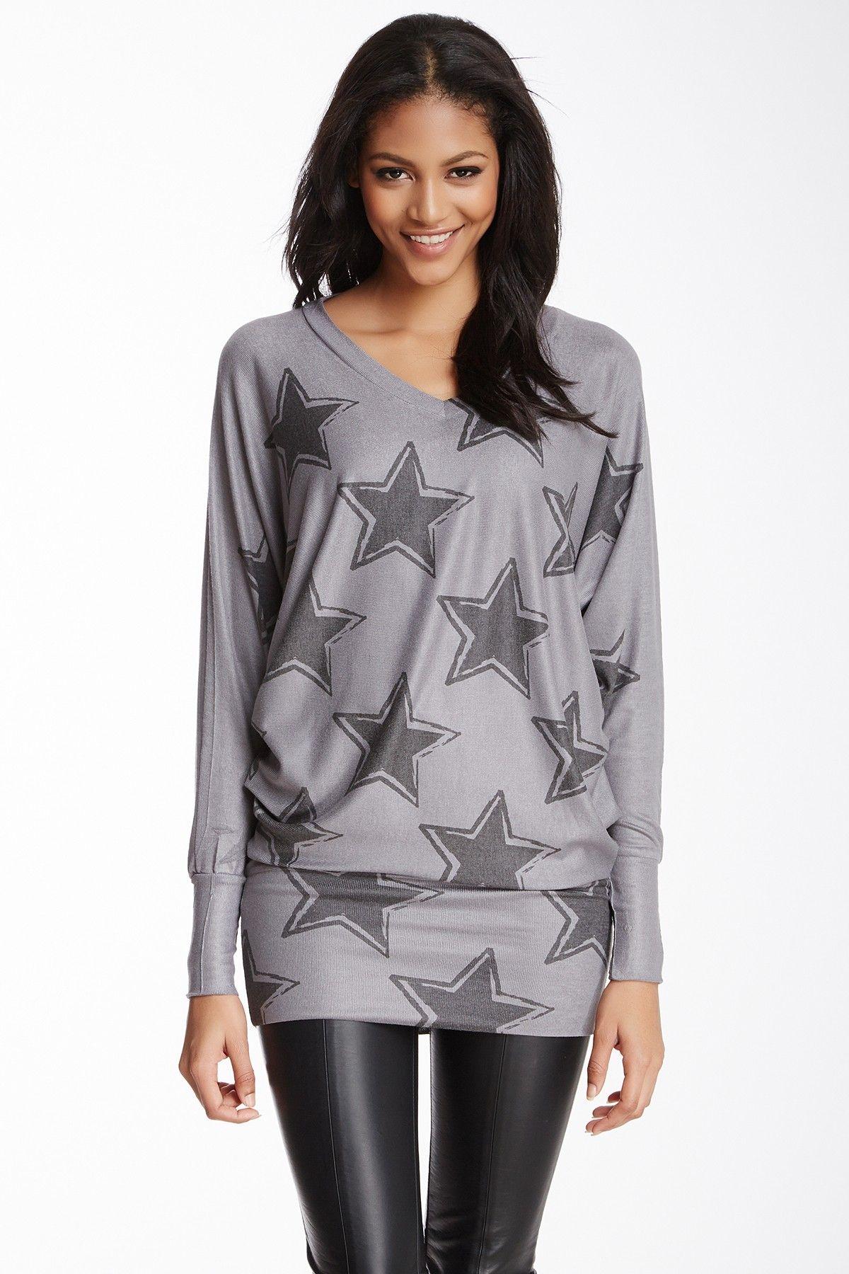 Go Couture V-Neck Tunic Sweater - Black Stars | My walk-in closet ...
