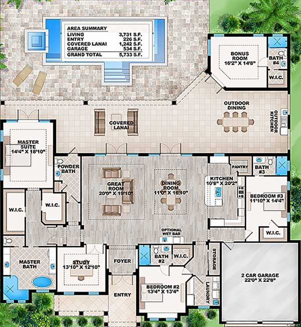 Plan 86017bw Florida House Plan With Detached Bonus Room Florida House Plans Pool House Plans House Plans One Story