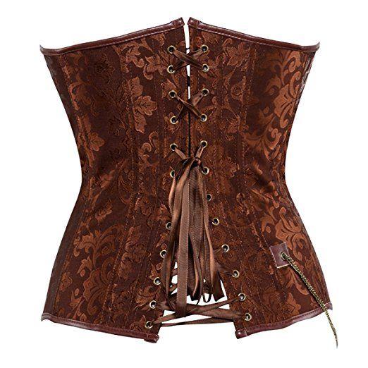 3191b364b2 Kranchungel Women s Steampunk Retro Steel Boned Corset Waist Cincher  Shapewear at Amazon Women s Clothing store