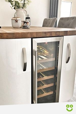 A Wine Fridge Can Solve All Your Wine Storage Issues And A Wine Cooler Finishes Off This Kitchen From Kitchen Wine Fridge Small Wine Fridge Wine Fridge Cabinet